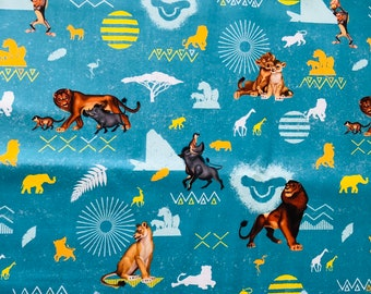 Disney The Lion King Blue Badges Fabric by the yard and half yard and other various lengths