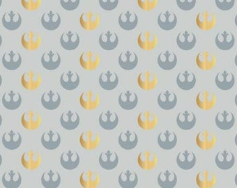 Star Wars Grey Watercolor Rebel Logo w/Metallic fabric by the yard and half yard and other various lengths