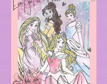 Disney Every Girl is a Princess Panel 1 yard panel