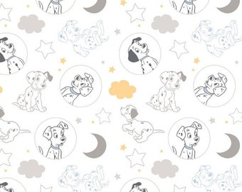 Disney 101 Dalmations Time for Bed White Fabric By The Yard and half yard and other various lengths