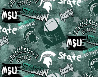 Michigan State Spartans Graffiti fabric by the yard and half yard and other various lengths