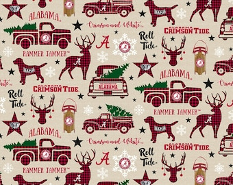 Alabama Crimson Tide Christmas Fabric 100% cotton fabric by the yard and half yard and other various lengths