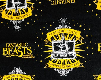 Fantastic Beasts Fabric, Black Suitcase & Logo Fabric by various lengths