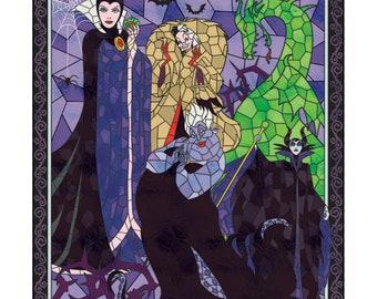 Disney Diabolical Villains Panel 36in Digitally Printed, Maleficent, Ursula, Cruella De Vil, The Evil Queen