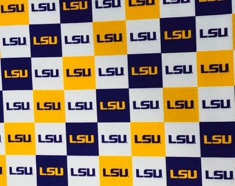 LSU Tigers Logo 100% cotton fabric by the yard and half yard and other various lengths