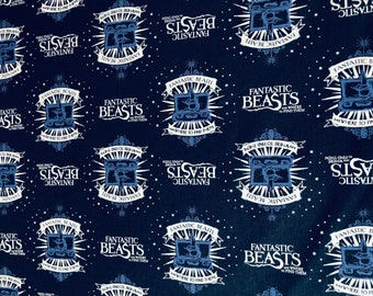 Fantastic Beasts Fabric, Navy Suitcase & Logo Fabric by various lengths