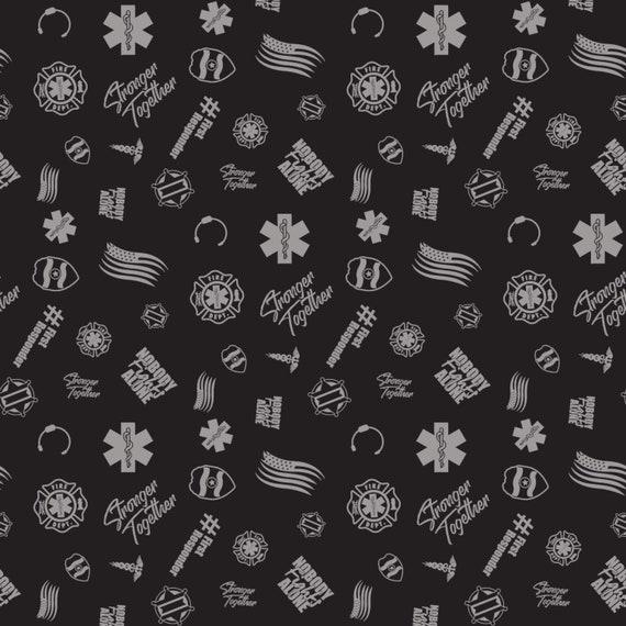 First Responders Black Toss Fabric