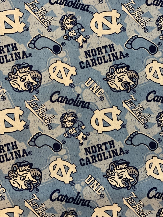 University of North Carolina Toss 100% cotton fabric by various lengths
