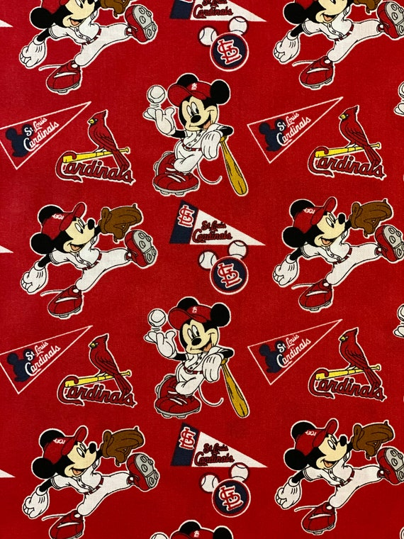 St. Louis Cardinals Mickey Mouse Fabric