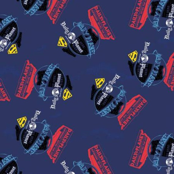 Superman Daily Planet Navy Blue Fabric invarious lengths