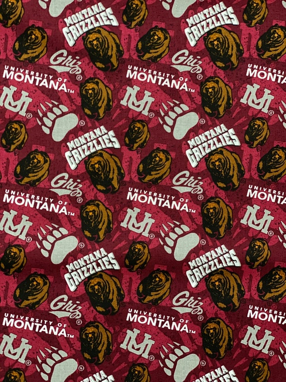 University of Montana Griz Toss 100% cotton fabric by the yard and half yard and other various lengths