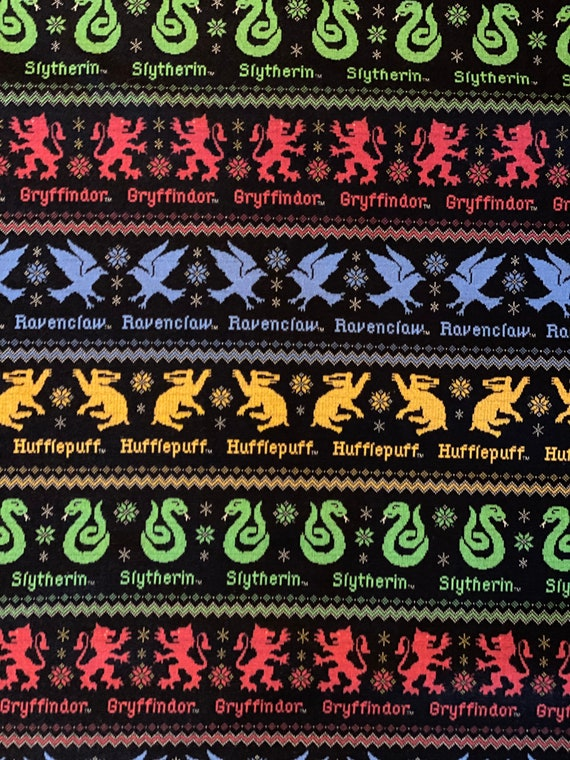 Harry Potter House Christmas Fabric by various lengths