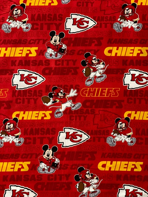 Kansas City Chiefs & Mickey Mouse fabric various lengths