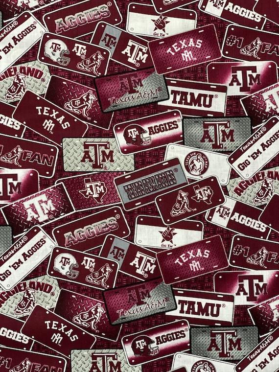 Texas A&M License Plates Fabric