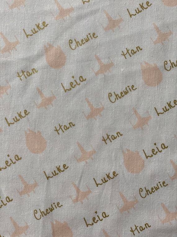 Star Wars Fabric, Star Wars Watercolor Names w/Metallic White Fabric in various lengths