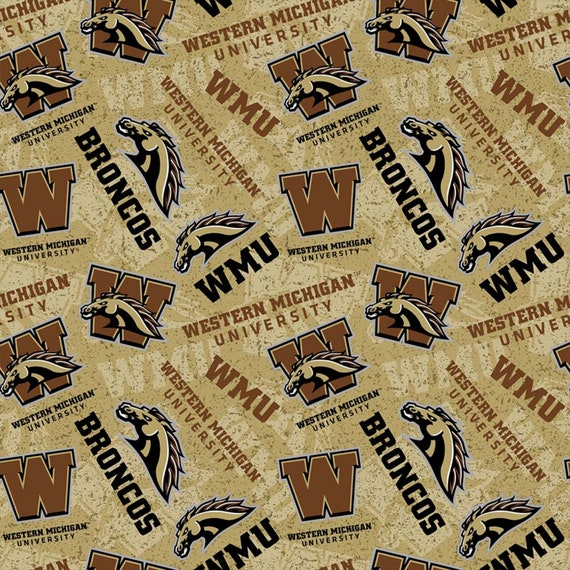 Western Michigan Broncos Tone on Tone Cotton fabric by the yard and half yard and other various lengths