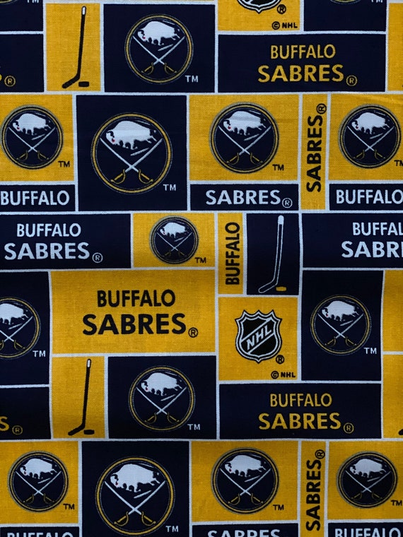 Buffalo Sabres Fabric, Buffalo Sabres Hockey Fabric, NHL Block Logo Fabric in various lengths