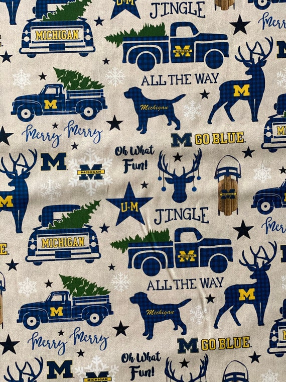 Michigan Wolverines Christmas Fabric