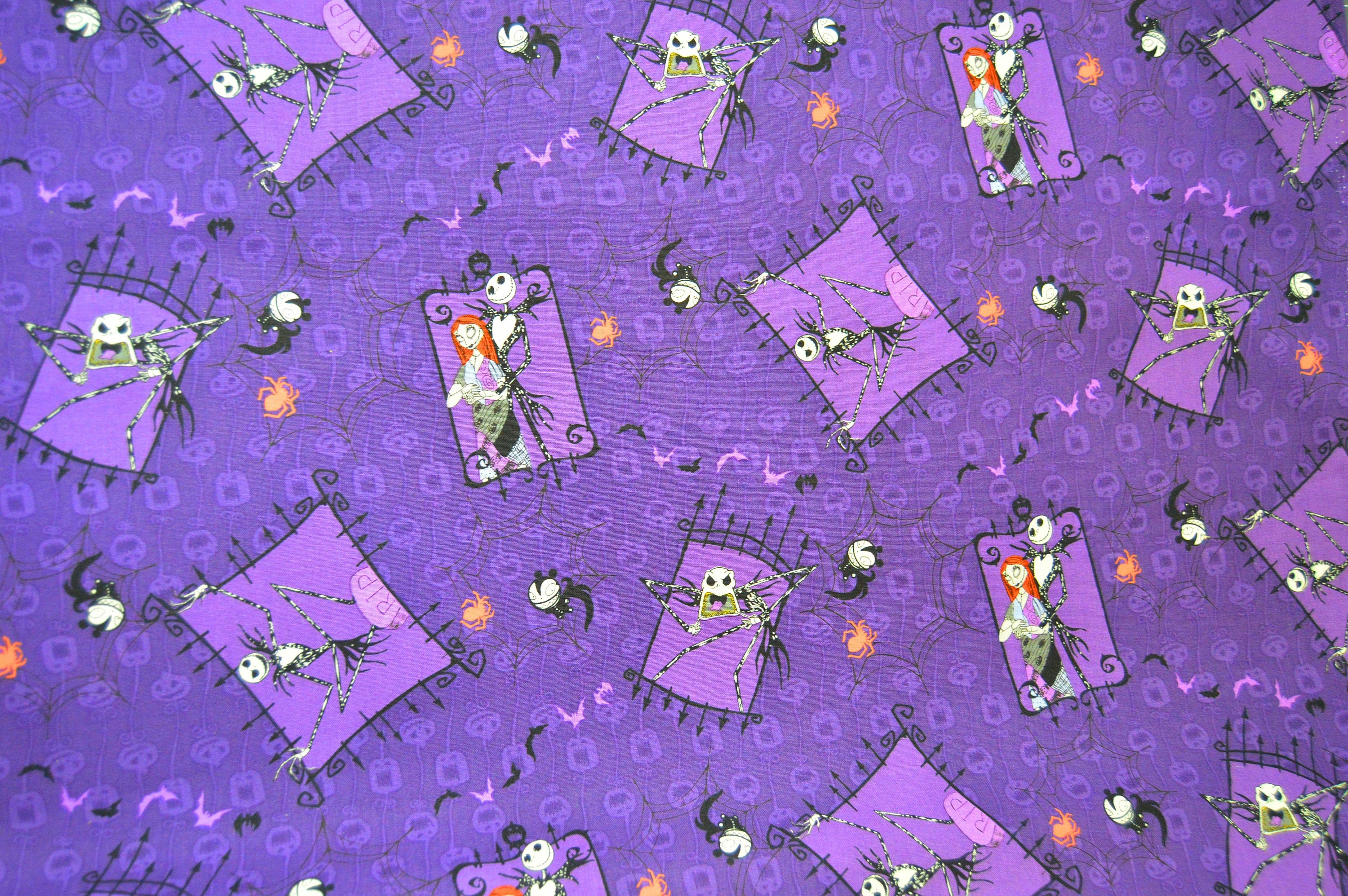 Nightmare Before Christmas: Jack and Sally Purple Fabric (End of ...