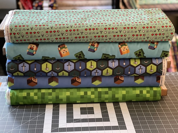Minecraft Theme Fabric by various lengths, Choose Your Print