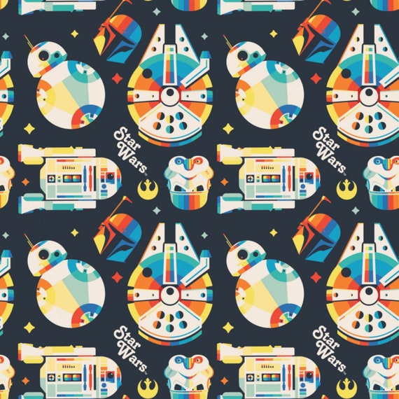 Star Wars Retro Toss Fabric by the yard and other various lengths