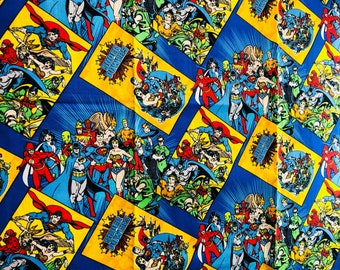 DC Comics Justice League Retro Comic Fabric By The Yard 36in X 44in