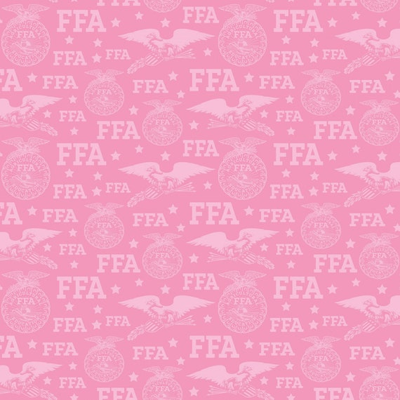 FFA Fabric, Future Famers of America Fabric Pink Logo Fabric by the yard and other various lengths