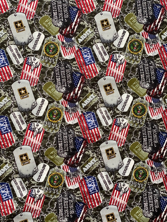 US Army Military Dogtags Fabric in various lengths