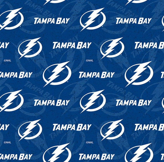 Tampa Bay Lightning Fabric, Lightning Hockey Fabric, NHL Blue Fabric in various lengths