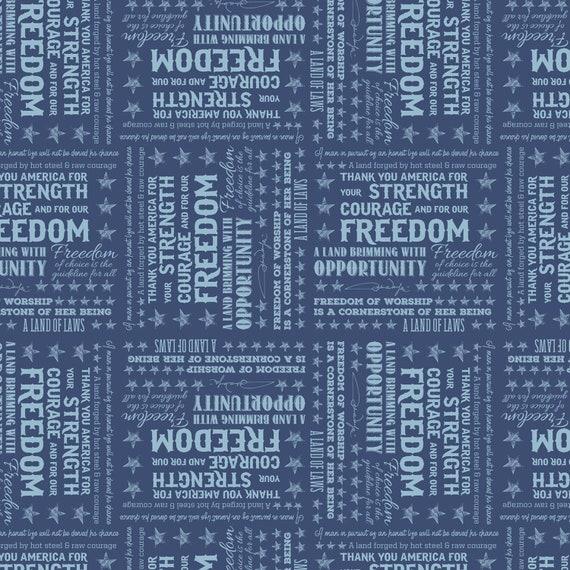 American Inspirational Sayings By John Wayne Blue Fabric