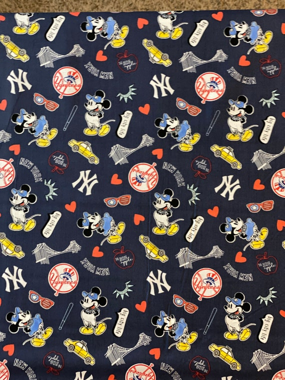 New York Yankees Mickey Mouse Fabric