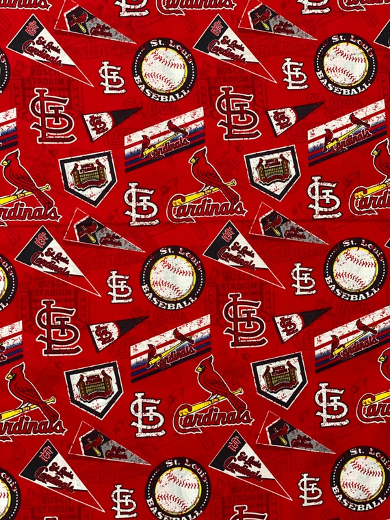 """St. Louis Cardinals Fabric, Cardinals Fabric, MLB Red Toss Fabric in various lengths by 59"""" width"""
