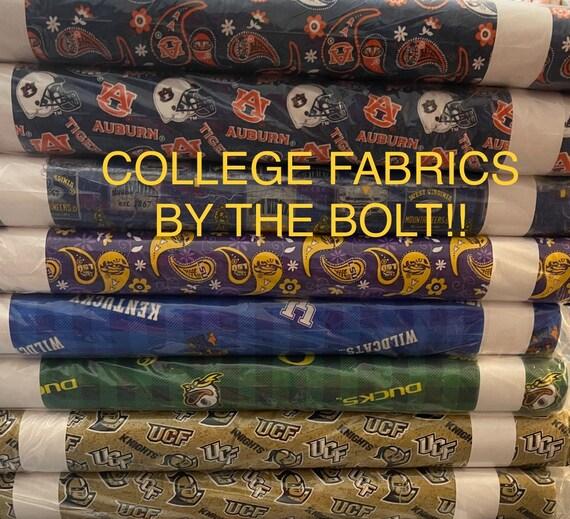 College Fabrics by the bolt, UCF, Oregon Ducks, LSU, West Virginia, Auburn