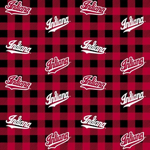 Indiana University Logo Plaid Fabric