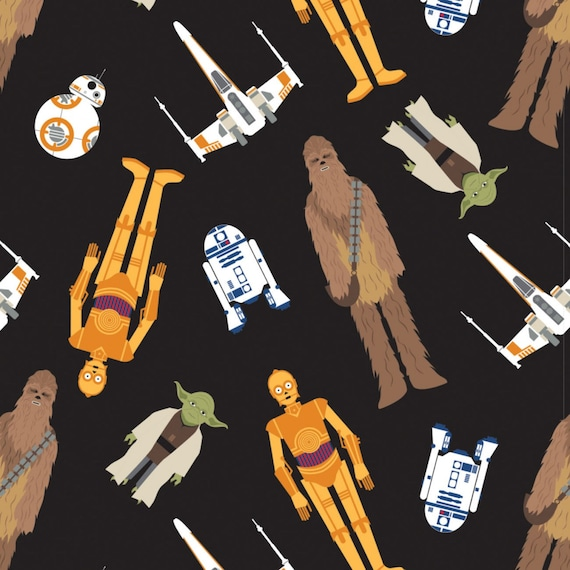 Star Wars Characters Black Fabric by the yard and other various lengths
