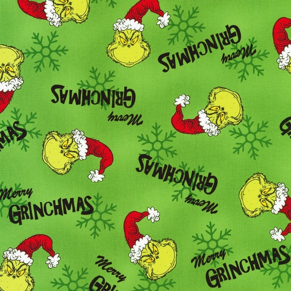 Pre-Order Dr. Seuss The Grinch Christmas Fabric Fabric by various lengths, This will not ship until April 2021
