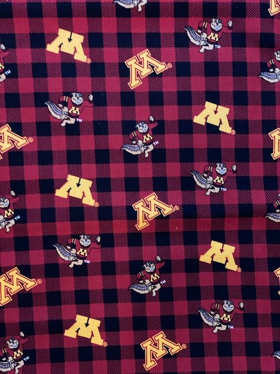 University of Minnesota red plaid fabric in various lengths