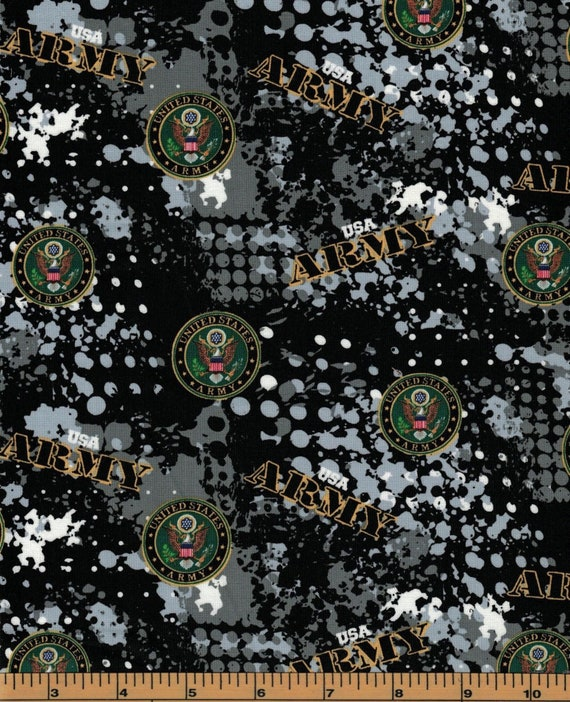 USA Army Black Camo Fabric in various lengths