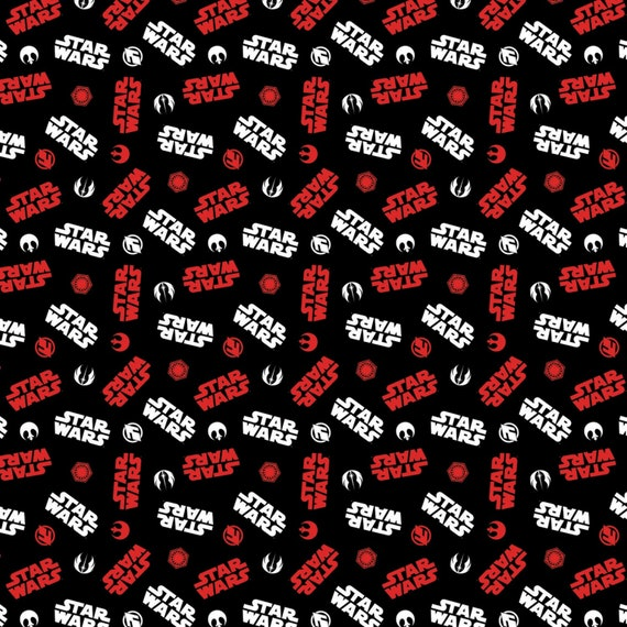 Star Wars Logo Black Toss Fabric by the yard and other various lengths