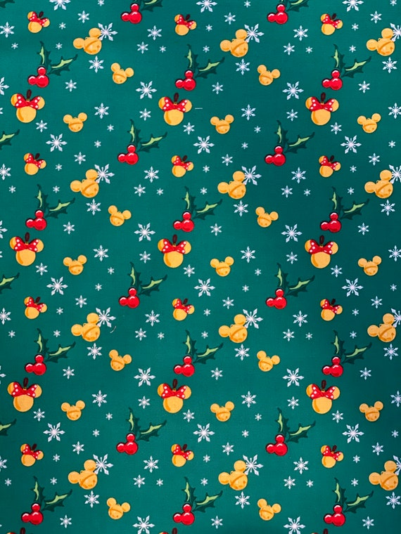 Disney Mickey Mouse Icons Christmas Green Fabric by various lengths