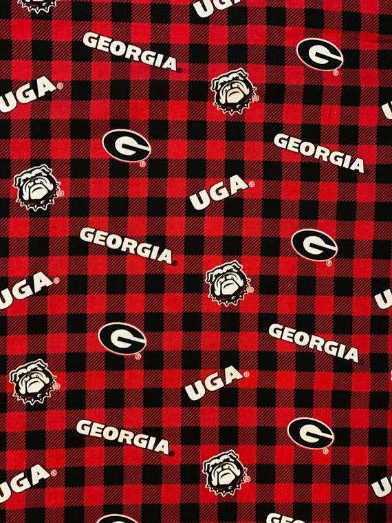 Georgia Bulldogs Plaid Fabric