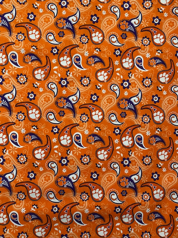Clemson Tigers Paisley 100% cotton fabric by various lengths