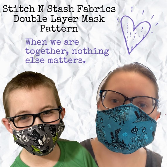 Double Layer Face Mask Pattern Three Sizes Instant Download