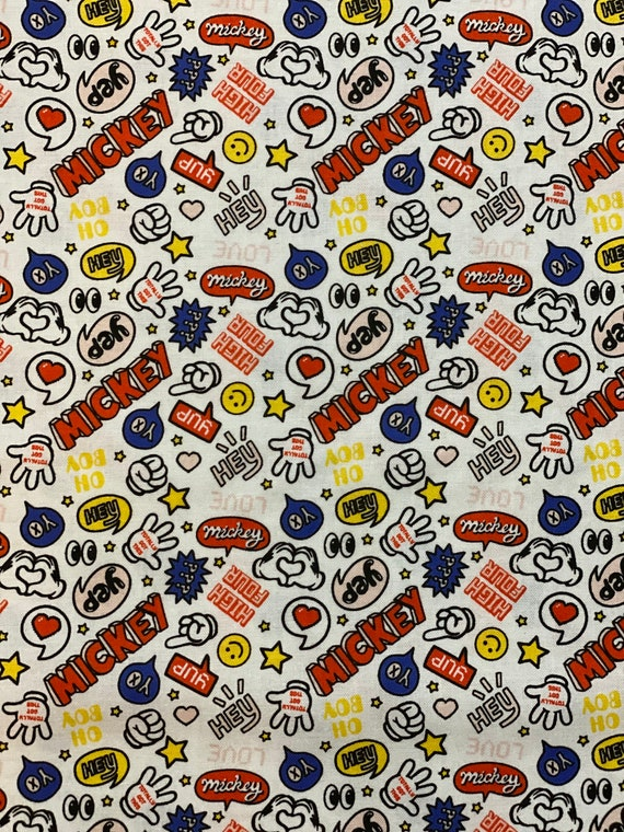 Mickey Mouse Fabric, Disney Mickey Mouse Fabric, Disney Mickey Fabric by various lengths