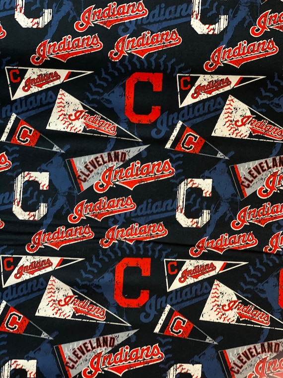 """Cleveland Indians Fabric, Indians Baseball Fabric,  MLB Fabric in various lengths by 59"""" width"""