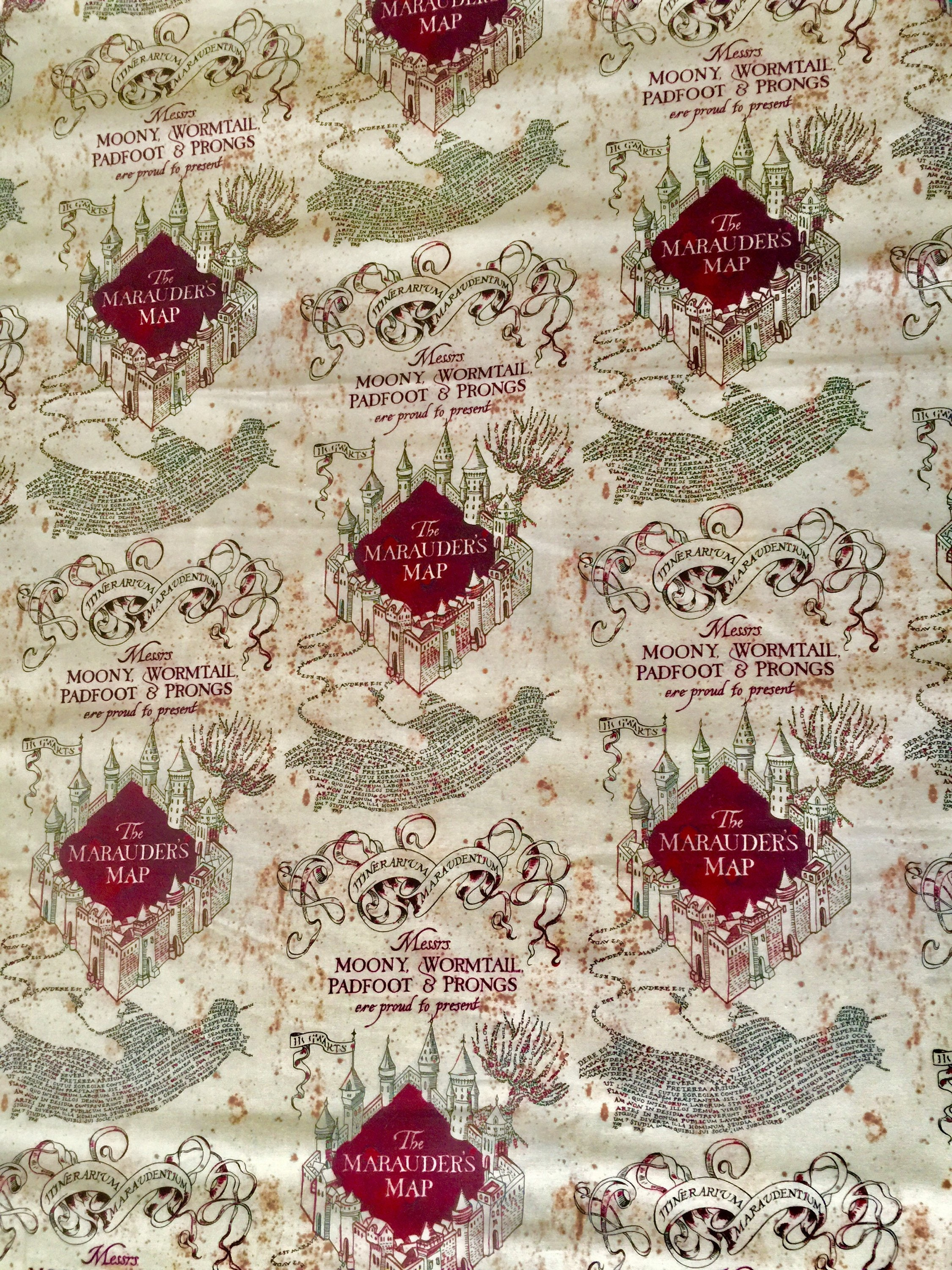 Harry Potter Fabric Marauders Map Fabric 100 Quilting