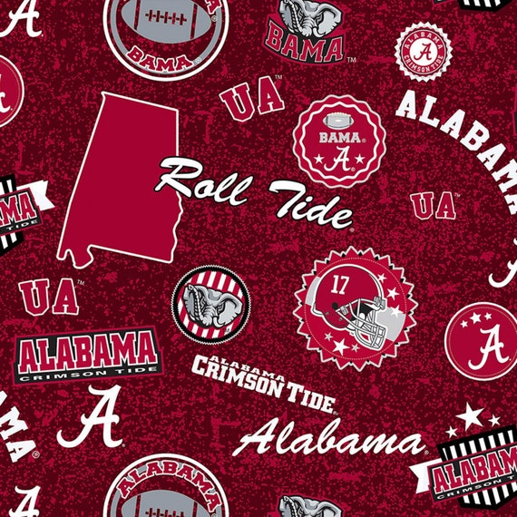 Alabama Crimson Tide Home State 100% cotton fabric by various lengths