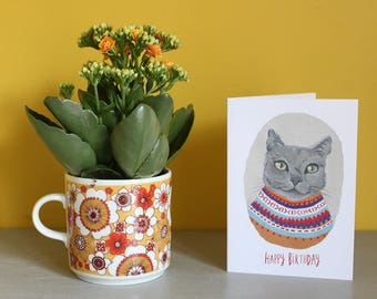 Russian Blue Cat Happy Birthday Greeting Card