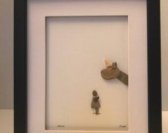 Free US shipping! Pebble art / child and unicorn/ unique gift/ framed art/ rock art