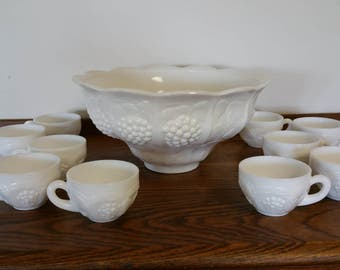 Vintage Milk Glass Punch Bowl and 10 Cups